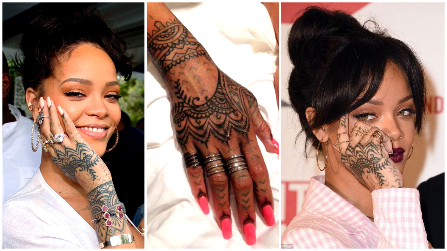 Best Rihanna Tattoo Henna Design - Most Popular Mehndi Design inspired by Rihanna Tattoo - Henna Design version of Rihannas Real Hand Tattoo - Mehendi Design on Hand like Rihanna Tattoo - Best Indian Henna Mehndi Inspired Celebrity Real Tattoos