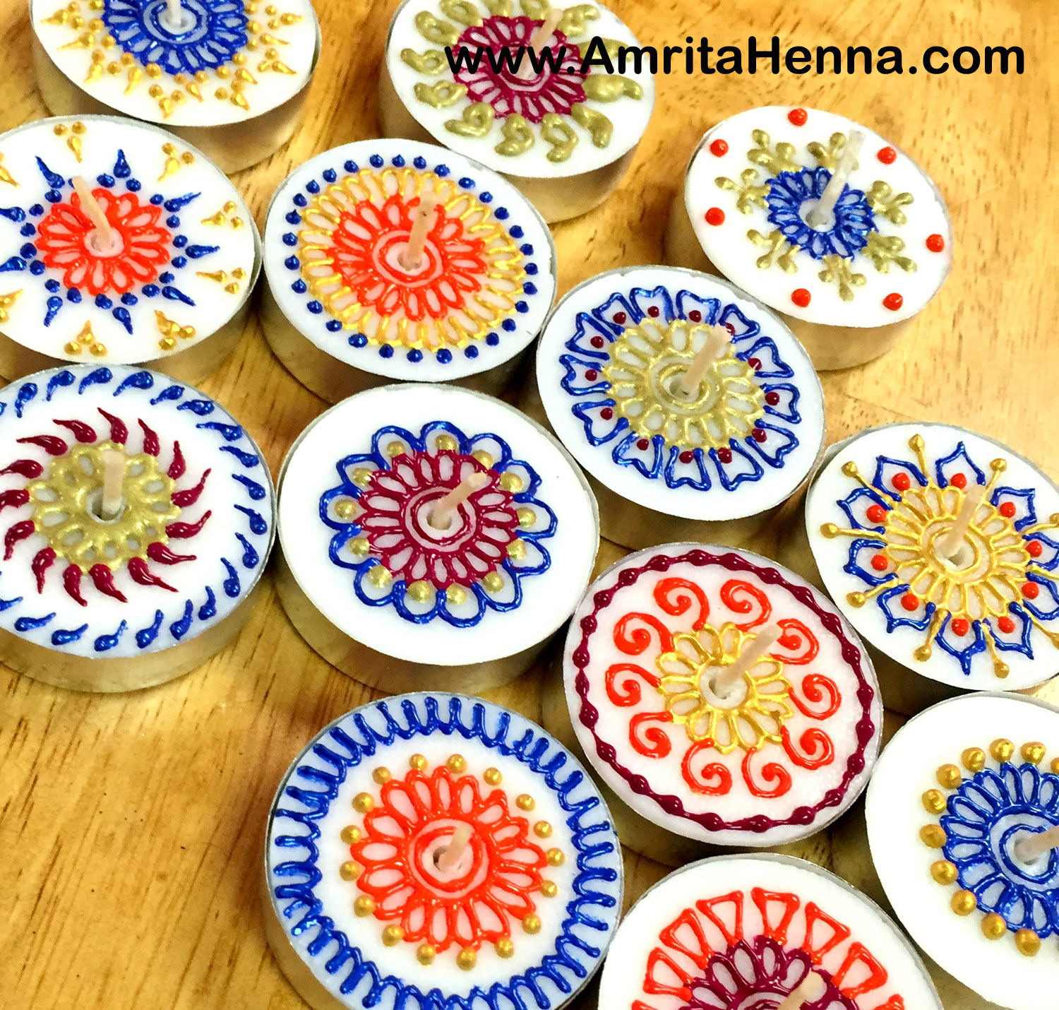 DIY Henna Designs Candles - Decorative Mehndi Design Candles - Henna Candles Decor Candles Ideas - Handmade Candles with Henna Mehndi Designs - DIY Henna Mehendi Inspired Tea Light Candles - Make at Home Henna Craft Candles - Mehndi Design on Tea Light Candles - DIY Creative Henna Art Inspired Handmade Candles