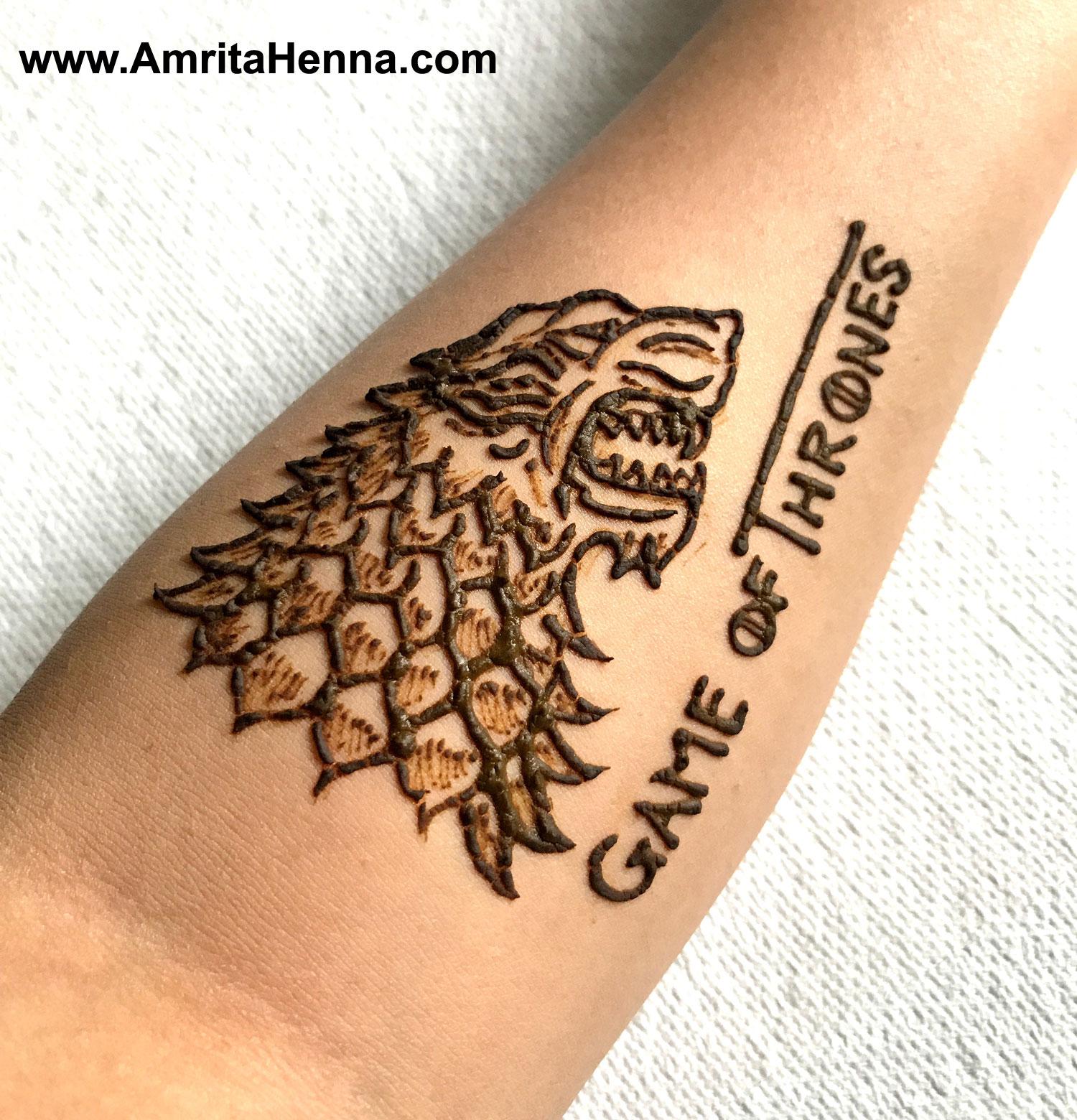 best game of thrones henna tattoo design henna tattoo mehndi art by amrita. Black Bedroom Furniture Sets. Home Design Ideas