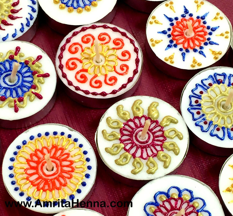 DIY Henna Designs Candles - Decorative Mehndi Design Candles - Henna Candles Decor Candles Ideas - Handmade Candles with Henna Mehndi Designs - DIY Henna Mehendi Inspired Tea Light Candles - Make at Home Henna Craft Candles - Mehndi Design on Tea Light Candles - DIY Creative Henna Art Inspired Handmade Candles